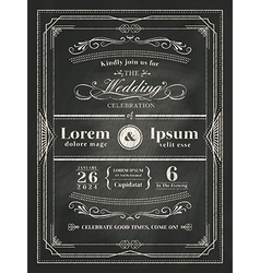 Vintage frame wedding invitation card vector