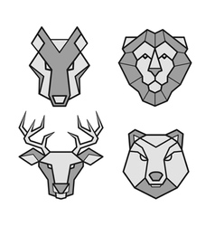Wild animals geometric head icons set vector image