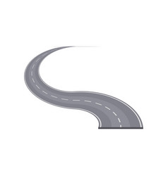 Winding highway with markings element vector