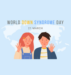 World down syndrome day smiling waving girl vector