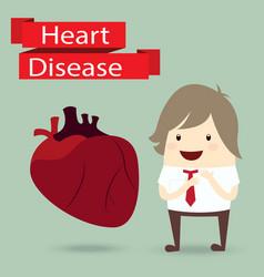 businessman presentation health with heart disease vector image