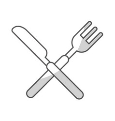 Knife and fork cutlery isolated icon vector