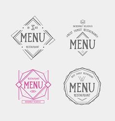 Menu logo template vintage geometric badge food vector image
