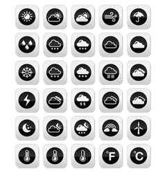 Weather round icons set vector image