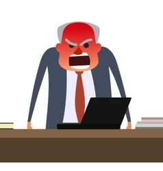 Angry boss with face getting red vector