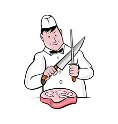 cartoon butcher knife sharpening meat vector image vector image