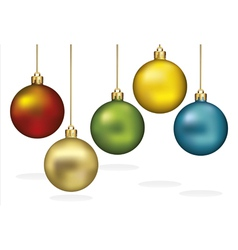 Color christmas ornaments hanging on gold thread vector image vector image