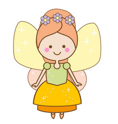 cute kawaii fairy character winged pixie princess vector image