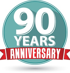 Flat design 90 years anniversary label with red vector image vector image