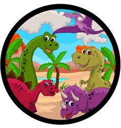 funny dinosaur cartoon set vector image vector image