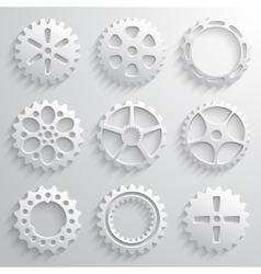Gear wheels icon set Nine 3d gears on a light gray vector image