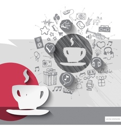 Hand drawn coffee icons with icons background vector image vector image