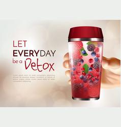 Hand holding detox bottle poster vector