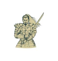 samurai warrior swordfight stance drawing vector image