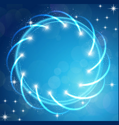 sparkles blue background with stars round frame vector image vector image