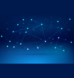 technology background with connected lines blue vector image vector image