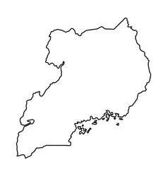 uganda map of black contour curves on white vector image