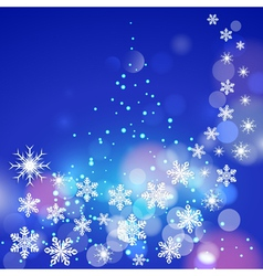 Abstract winter blue background with snowflakes vector image vector image
