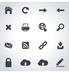 black web icon set vector image