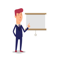 business man character points to the board vector image vector image