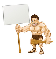 caveman holding sign cartoon vector image