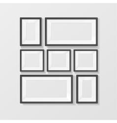 Realistic black picture frames set vector