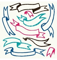 set of hand drawn textured retro ribbons vector image