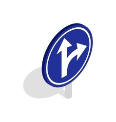 Turn right road sign icon isometric 3d style vector image