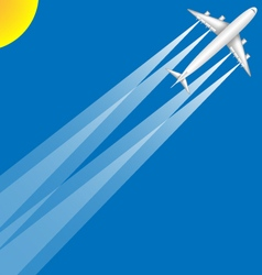 Airplane Jumbo Jet Summer Sun Blue Sky Scene vector image