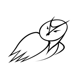 Black and white doodle sketch of an owl vector image vector image