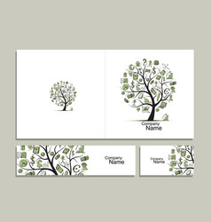 cards with business tree concept for your design vector image vector image