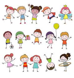 Set of cute happy cartoon doodle kids hand-drawn vector