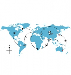 Worl airline routes vector
