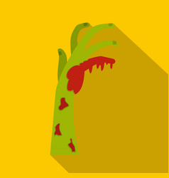 zombie green bloody hand icon flat style vector image