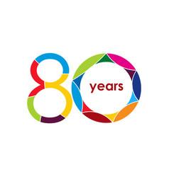 80 year anniversary logo template design vector