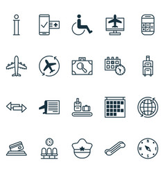 airport icons set with disabled handicap vector image