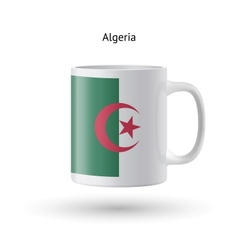 Algeria flag souvenir mug on white background vector