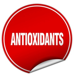 Antioxidants round red sticker isolated on white vector