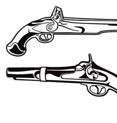 antique black powder pistols gun set vector image