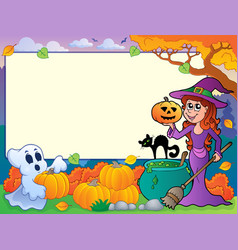autumn frame with halloween theme 6 vector image