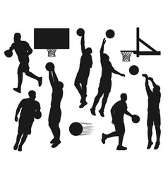 black silhouettes basketball sport players set vector image