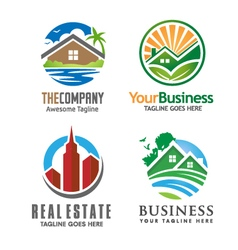 Building house and real estate logo set vector