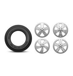 car rims and tire isolated realistic rubber vector image