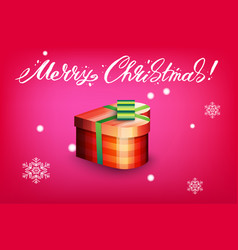 card with gift box and letting merry christmas vector image