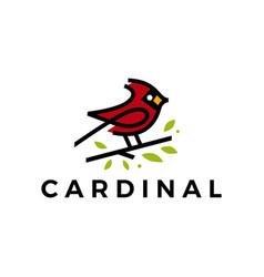 cardinal bird leaf line color fill logo icon vector image