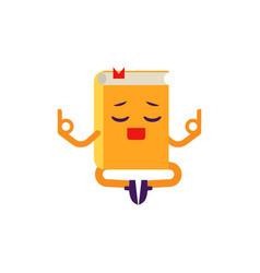 Cartoon book character meditating vector