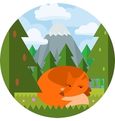 Cartoon flat style fox sleep in the woods vector