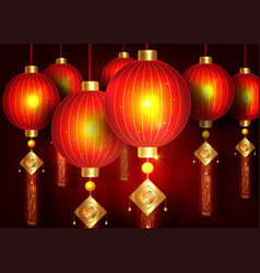 chinese traditional gold red lanterns background vector image