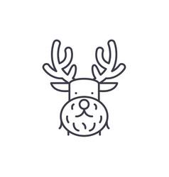 christmas deer line icon concept christmas deer vector image