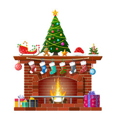christmas red brick classic fireplace vector image